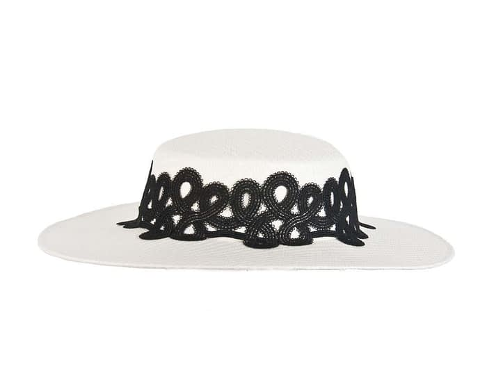 Fascinators Online - White & black fashionable boater hat with lace 3
