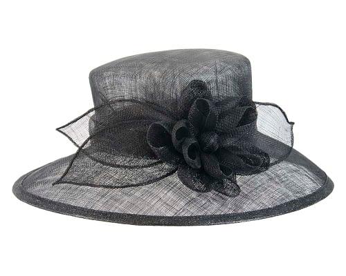 Fascinators Online - Wide brim black sinamay fashion hat by Max Alexander 3