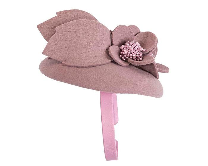 Fascinators Online - Dusty pink felt winter pillbox fascinator by Max Alexander 5