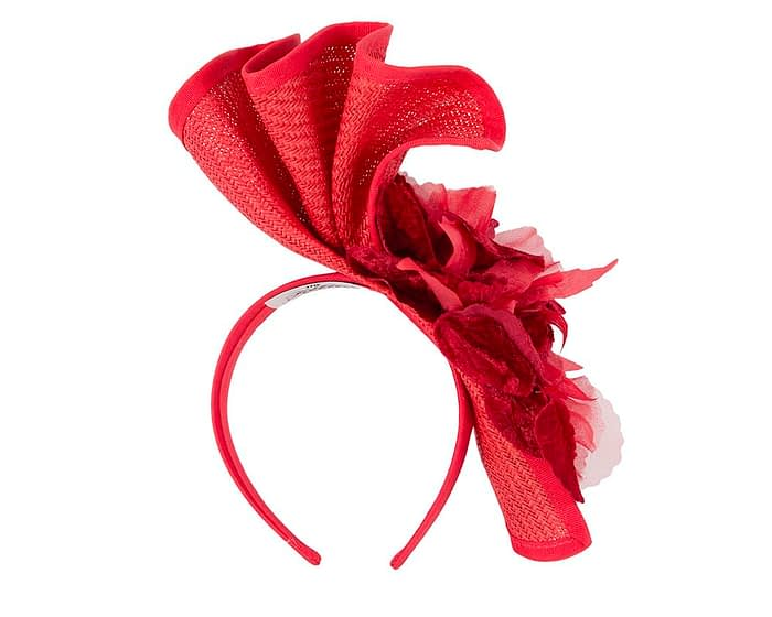 Fascinators Online - Bespoke large red flower fascinator by Fillies Collection 4