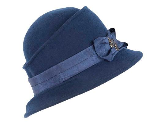 Fascinators Online - Navy ladies felt bucket hat 2