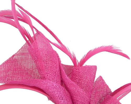 Fascinators Online - Petite fuchsia sinamay fascinator with feathers by Max Alexander 3