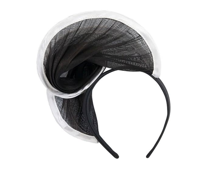 Fascinators Online - Black & white headband racing fascinator by Fillies Collection 4