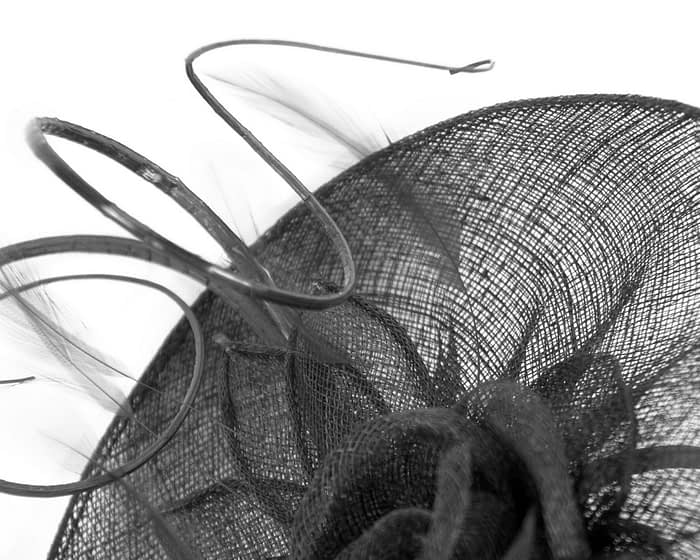 Fascinators Online - Large black sinamay racing fascinator with feathers by Max Alexander 3