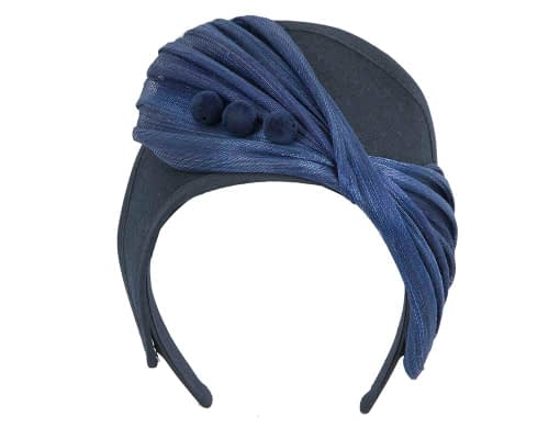 Fascinators Online - Navy & Royal Blue felt crown fascinator by Fillies Collection 2