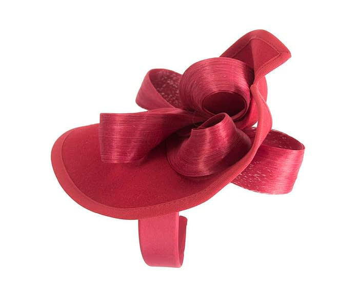 Fascinators Online - Red felt twist with bow by Fillies Collection 3