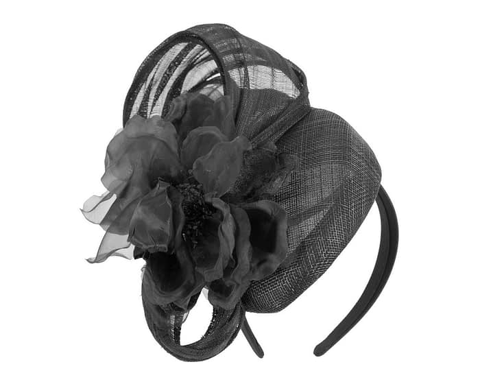 Fascinators Online - Black pillbox fascinator with large flower by Fillies Collection 2