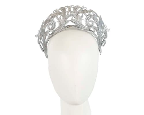 Fascinators Online - Silver lace crown racing fascinator by Max Alexander 8