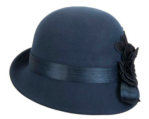 Fascinators Online - Exclusive navy felt cloche hat with lace by Fillies Collection 4