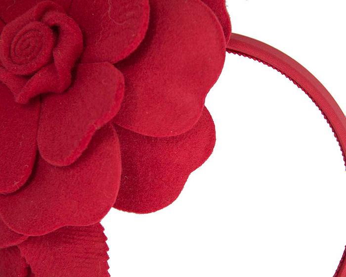 Fascinators Online - Red felt flower fascinator by Max Alexander 3