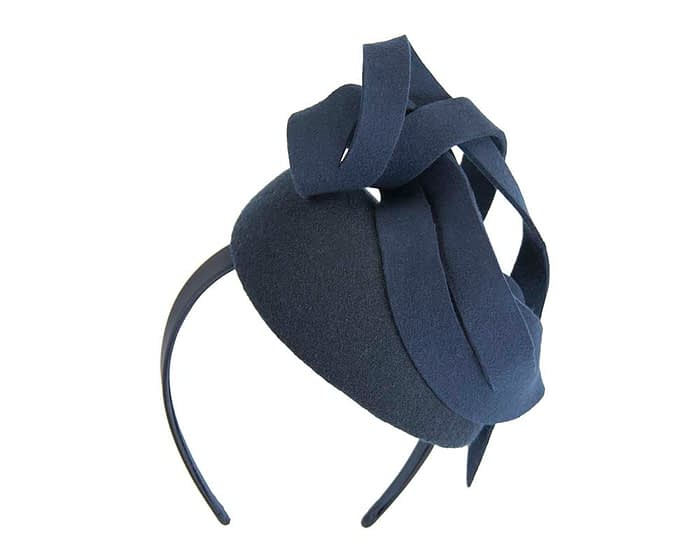 Fascinators Online - Unusual navy felt pillbox fascinator by Fillies Collection 3