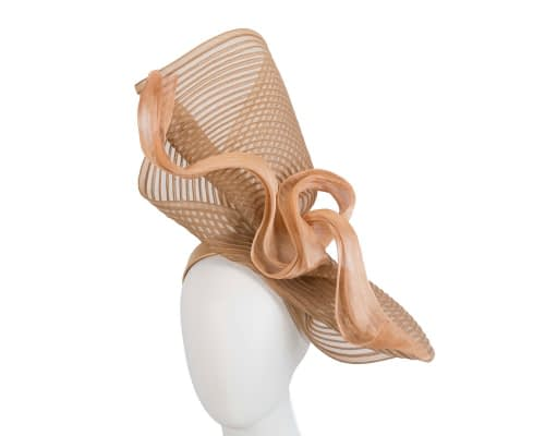 Fascinators Online - Tall Australian Made gold racing fascinator by Fillies Collection 1