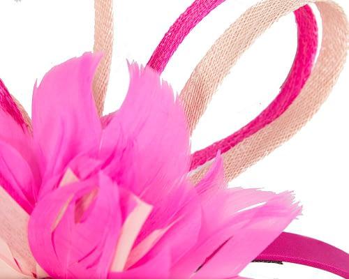 Fascinators Online - Fuchsia & blush feather flower fascinator headband by Max Alexander 3