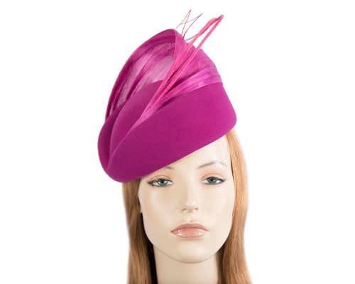 Fascinators Online - Fuchsia felt ladies fashion beret hat with feather by Fillies Collection 47