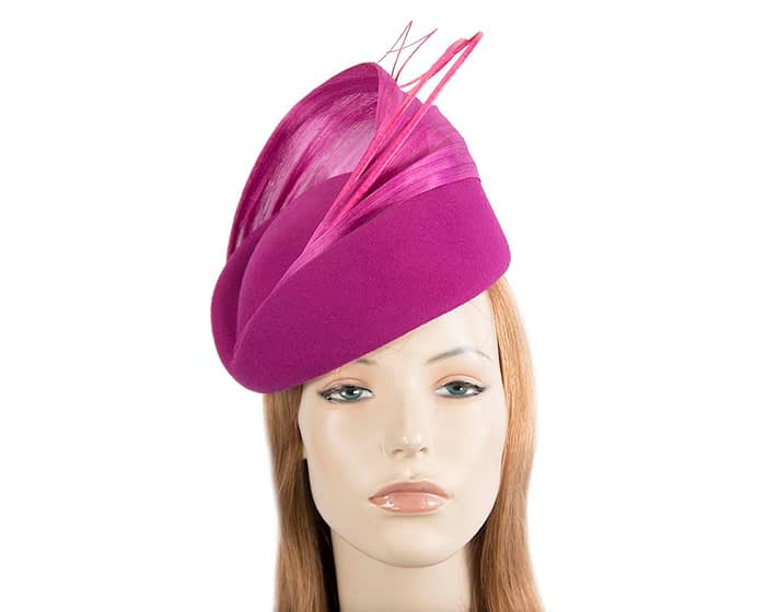 Fascinators Online - Fuchsia felt ladies fashion beret hat with feather by Fillies Collection 1