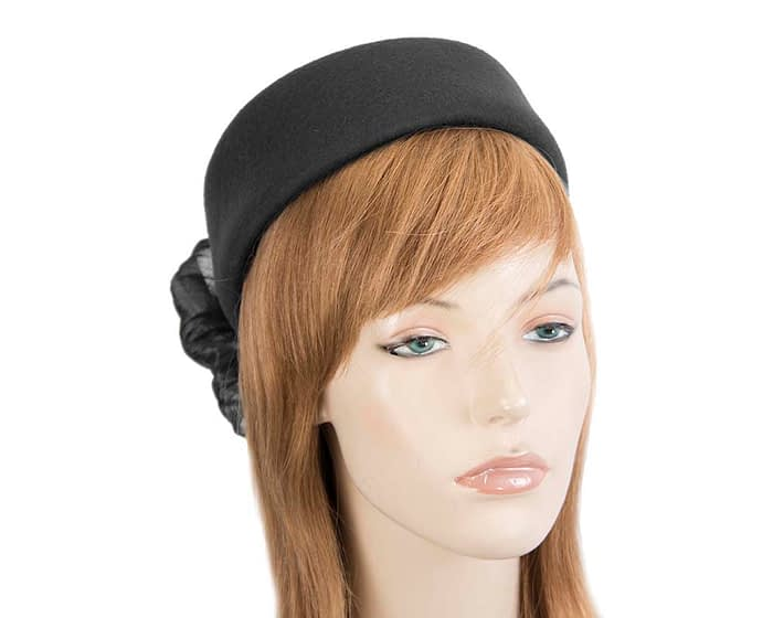 Fascinators Online - Black felt ladies fashion beret hat with bow by Fillies Collection 1