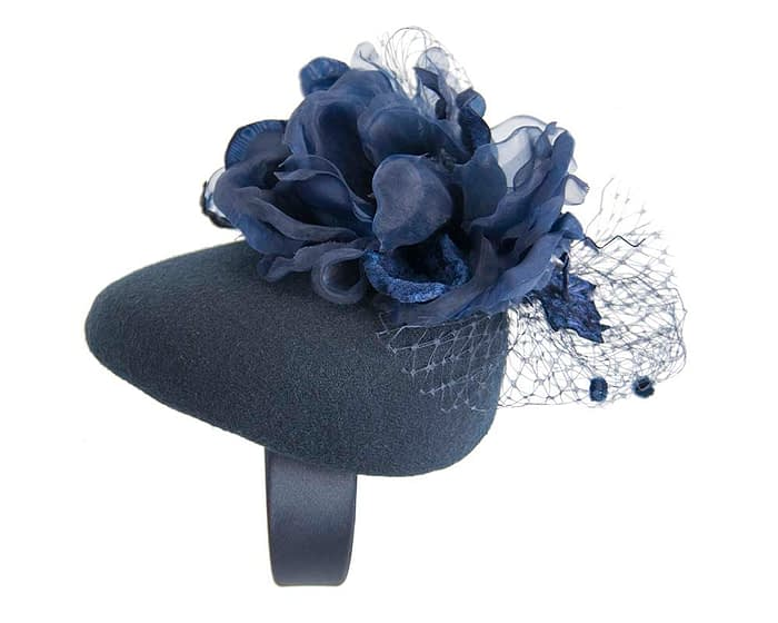 Fascinators Online - Navy pillbox fascinator with flower by Fillies Collection 2