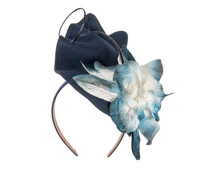 Fascinators Online - Navy and Cream winter felt fascinator by Fillies Collection 2