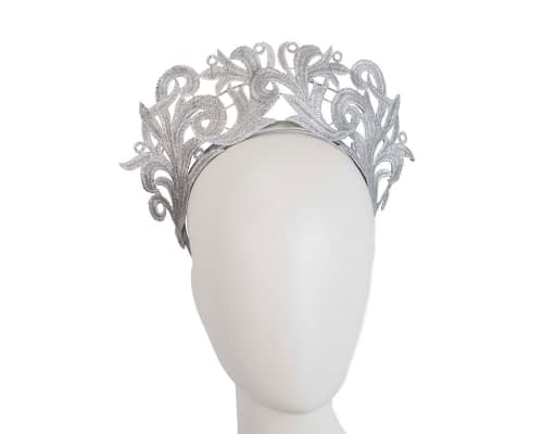 Fascinators Online - Silver lace crown racing fascinator by Max Alexander 5