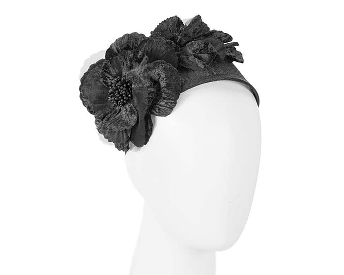 Fascinators Online - Black flower headband fascinator by Max Alexander 1