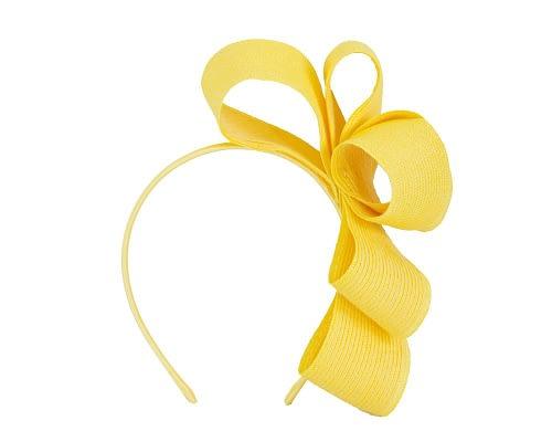 Fascinators Online - Large yellow bow racing fascinator by Max Alexander 2