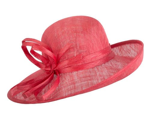 Fascinators Online - Red ladies sinamay racing hat by Max Alexander 2