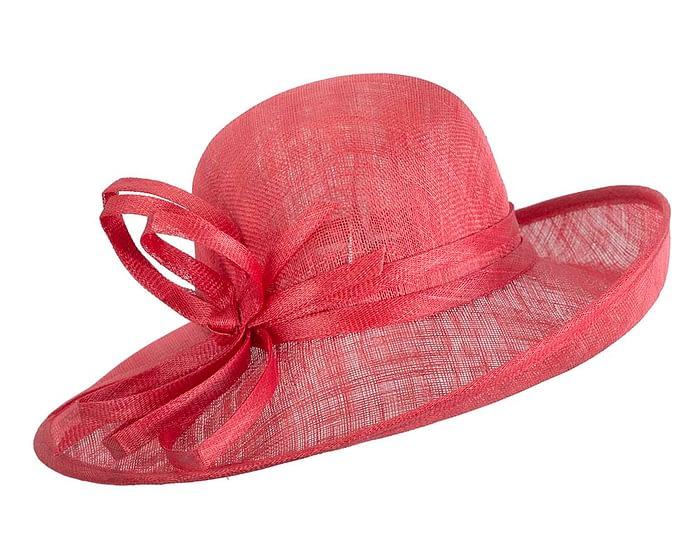 Fascinators Online - Red ladies sinamay racing hat by Max Alexander 2