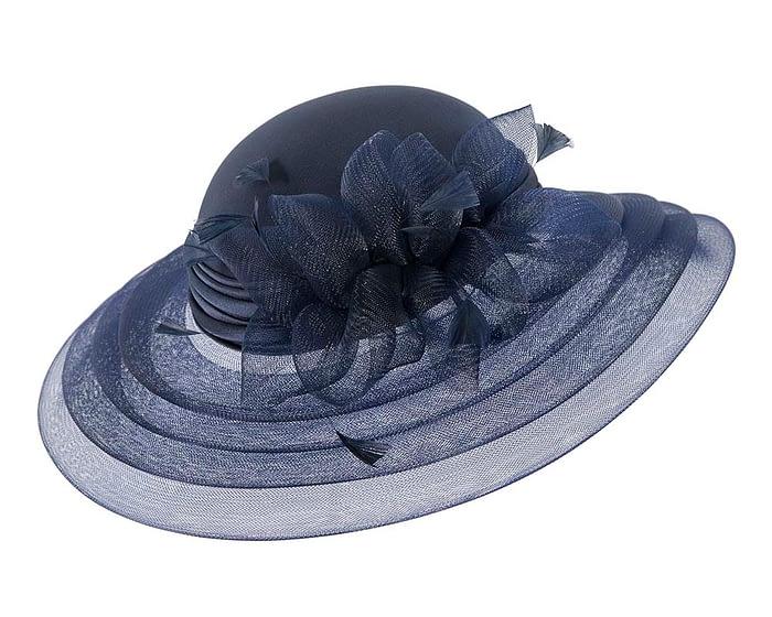 Fascinators Online - Navy custom made Mother of the Bride hat 2
