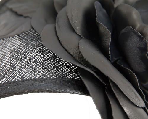 Fascinators Online - Black leather flower headband fascinator by Max Alexander 4