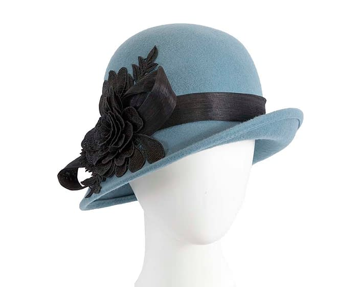 Fascinators Online - Exclusive blue felt cloche hat with lace by Fillies Collection 1