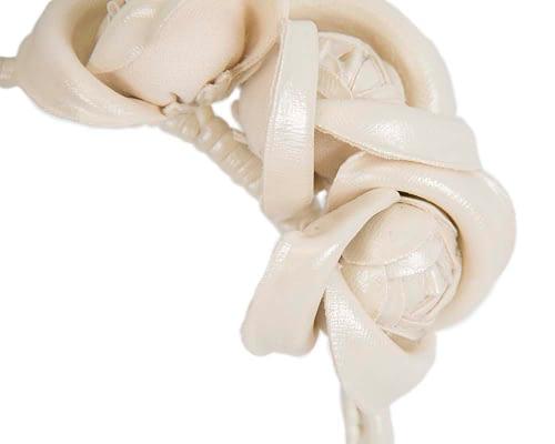 Fascinators Online - Cream leather flowers headband by Max Alexander 3