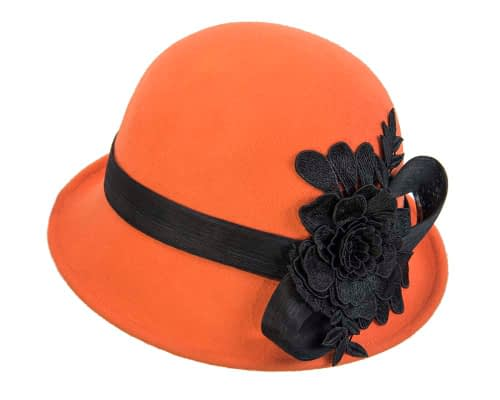 Fascinators Online - Exclusive orange felt cloche hat with lace by Fillies Collection 5