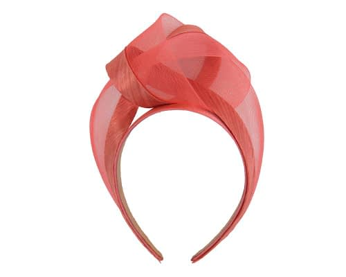 Fascinators Online - Coral turban headband by Fillies Collection 2