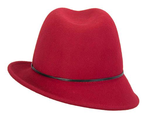 Fascinators Online - Red felt trilby hat by Max Alexander 4