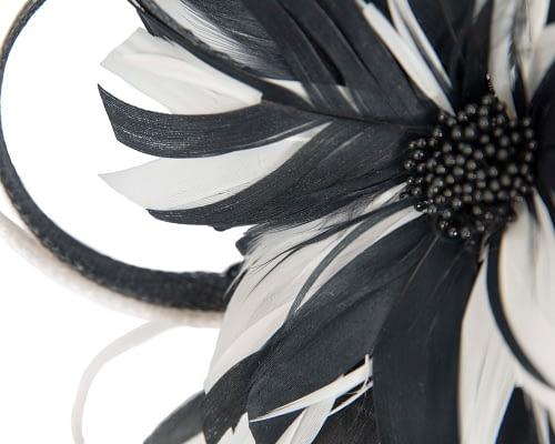 Fascinators Online - Black & cream feather flower fascinator headband by Max Alexander 3