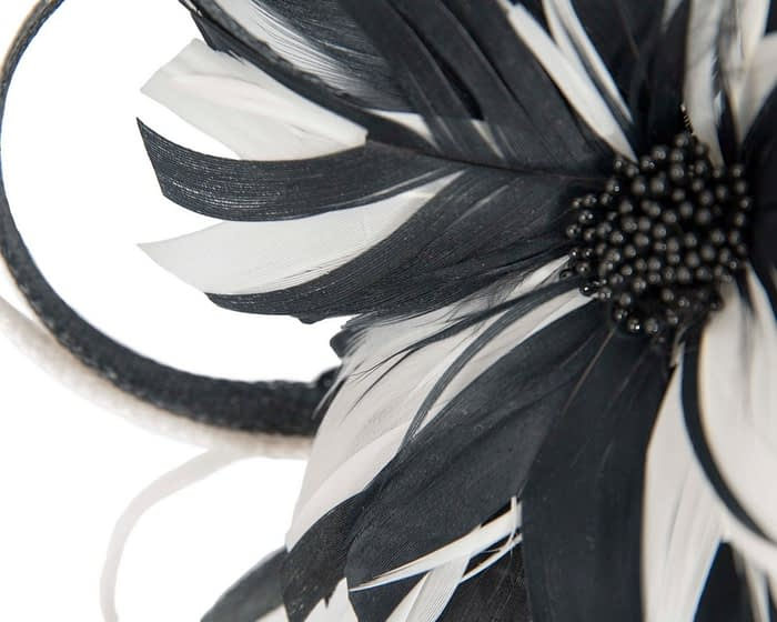 Fascinators Online - Black & cream feather flower fascinator headband by Max Alexander 3