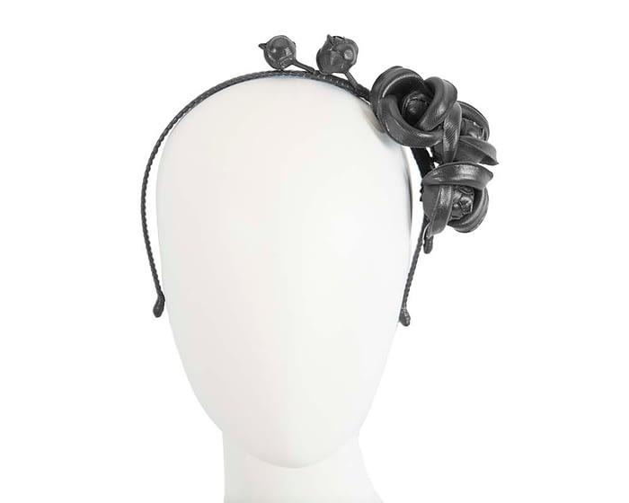 Fascinators Online - Black leather flowers headband by Max Alexander 1