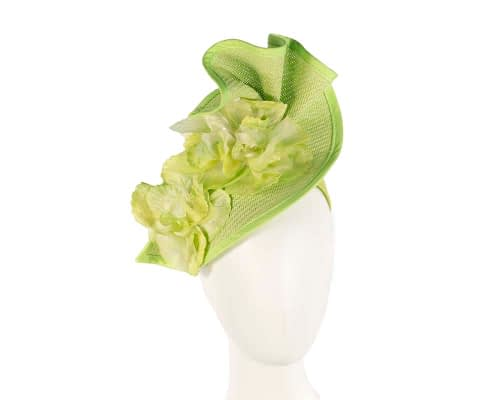 Fascinators Online - Bespoke large lime green flower fascinator by Fillies Collection 1