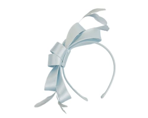Fascinators Online - Sky blue satin bow racing fascinator with feathers by Max Alexander 2