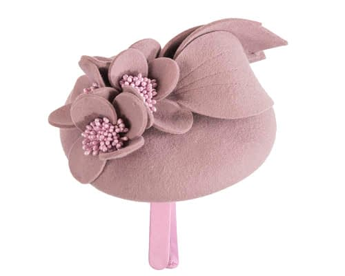 Fascinators Online - Dusty pink felt winter pillbox fascinator by Max Alexander 6