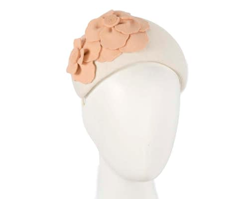Fascinators Online - Wide headband cream winter fascinator with nude flower by Max Alexander 21