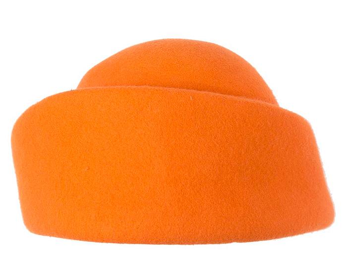Fascinators Online - Designers orange felt hat 5