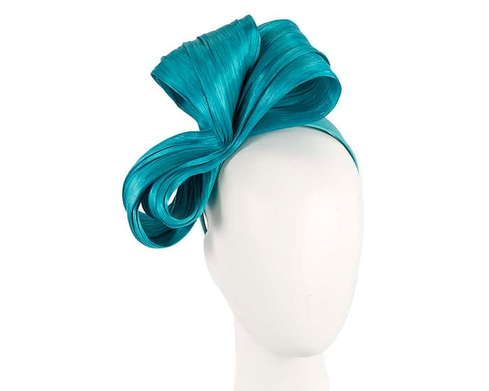 Fascinators Online - Turquoise bow racing fascinator by Fillies Collection 1