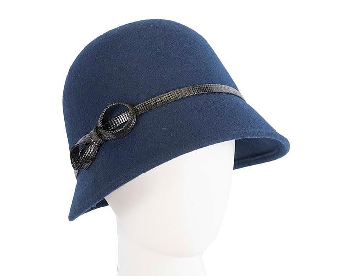 Fascinators Online - Navy felt cloche hat by Max Alexander 1