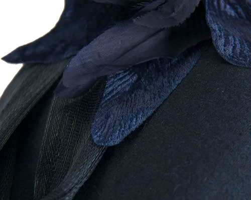 Fascinators Online - Tall navy felt pillbox with flower by Fillies Collection 4