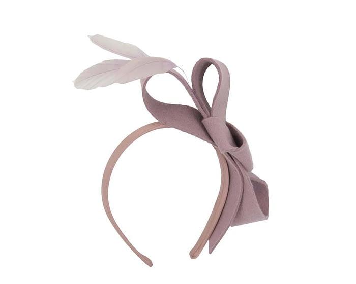 Fascinators Online - Dusty pink felt bow winter fascinator 2