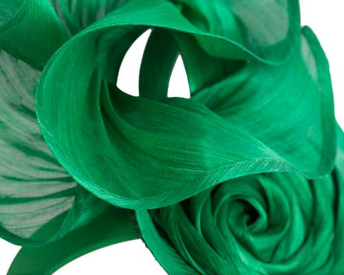 Fascinators Online - Green sculptured silk abaca fascinator by Fillies Collection 3
