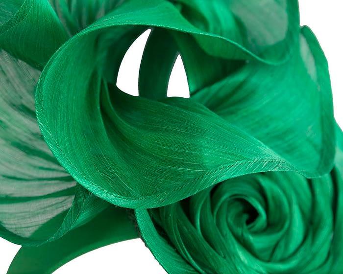 Fascinators Online - Green sculptured silk abaca fascinator by Fillies Collection 3