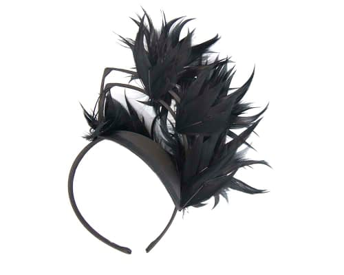 Fascinators Online - Black feather racing fascinator by Max Alexander 4