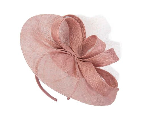 Fascinators Online - Large dusty pink sinamay fascinator by Max Alexander 2